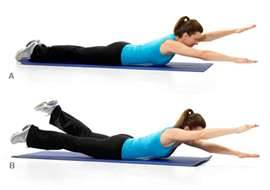 Daily Pilates Pose 27: Swimming 1. Lie on your stomach, completely outstretched on the mat. 2. Inhale, bring your right arm and left leg up into the air simultaneously. Hold them there as you lift your head and chest off the mat as well. 3. Switch your arms and legs by lifting your left arm and right leg above the mat. 4. Continue switching until you have a swimming motion in effect, inhaling for 5 counts and exhaling for 5 counts. 5. Complete 2-3 sets of 5 inhalations/exhalations each. Use your core to stay lifted throughout this exercise. The torso should remain very still.