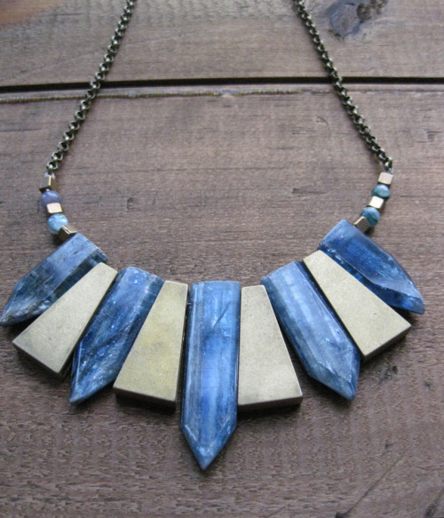 tribal brass and kyanite points