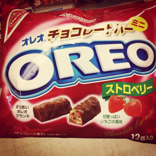 Strawberry Chocolate Oreo Bars From Japan Town SF (Taken with Instagram)