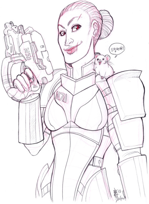 jakface:  FemShep and Boo the Space Hamster! commission for fluidfyre!  This Just shows i still need to find time to play baldurs gate one and two