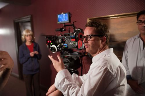 filmcrack:  Nicolas Winding Refn directing on the set of Drive