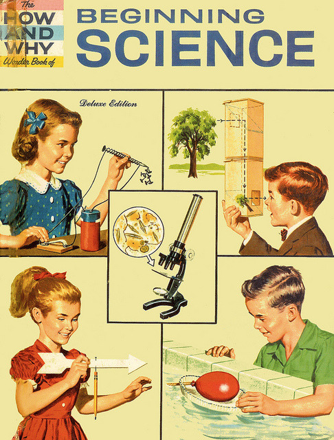 cwnl:  old-ads-and-mags:  … let's do science!  and let's do it on top of desks.