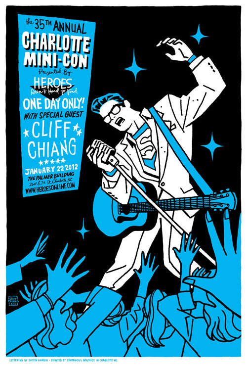cliffchiang:  I'll be at the Charlotte Mini-Con this weekend, where you can pick up this giant 16x24 screenprint by me and Dustin Harbin for just $10. Sweet!