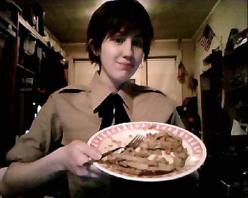 …CHICKEN TERIYAKI. And Spain cosplay. MILITARY SURPLUS STORES ARE GODLY I AM NOT EVEN KIDDING. LISA YOUR WORK HERE IS DONE. Also this camera makes me more pale than I already am. ;A; Ahhhh…