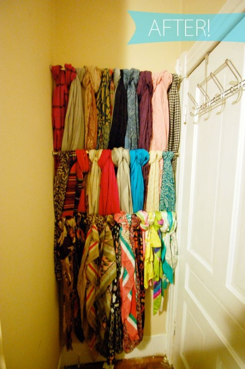 Streamlining Your Scarf Storage: When it comes to your clothes, scarves generally take a backseat to all the other stuff you have to fit in your closet. Mine are normally folded up underneath my bed or draped over some piece of bedroom furniture (see the Before picture here). Why not try this easy idea if you have the space: Tension rods to hold and organize all your scarves! Simple, clean and aesthetically-pleasing :)