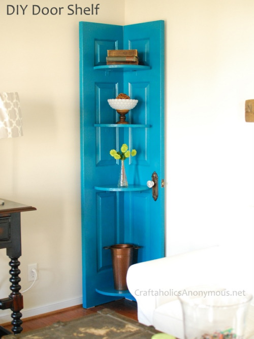 Corner shelf made from a door.  I love this!  A great way to repurpose an old door.  See more on Craftaholics Anonymous here.