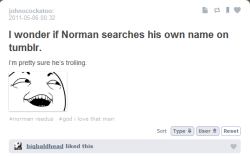 crossbowsandwalkers:  doeraemari:  'CAUSE THIS NEVER GETS OLD. NORMAN SEES YOU.  nyehehehe  I've never seen this before but that's AWESOME!!!!