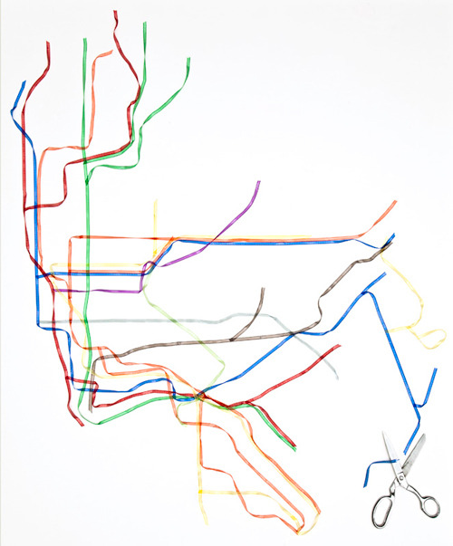 youveescaped:  new york city subway map in ribbon | henry hargreaves [rose-colored and outofhabit]