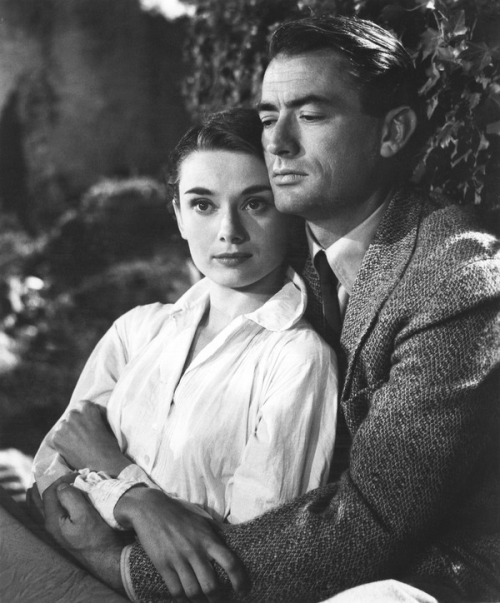 theniftyfifties:  Audrey Hepburn and Gregory Peck in 'Roman Holiday', 1953.