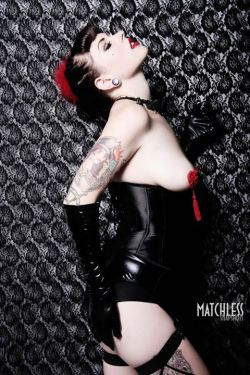 Model: Louella Deville Photographer: Rachel Mia/ Matchless Snapshots Cincher, pasties, stockings, garter belt and necklace by Kornelia's Kloset www.korneliaskloset.com