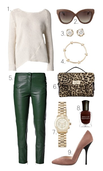 Underneath your coat essentials! via what-do-i-wear  1. Brochu Walker Long Sleeve Asymmetrical Sweater2. Linda Farrow Luxe Snakeskin Curved Square Sunglasses3. ginette_ny Mini Diamond Puce Earrings4. CC SKYE Love Me Knot Bangle Set5. By Malene Birger Alisa Leather Pants6. BE & D Maggie Haircalf Satchel7. Michael Kors Men's Oversized Watch8. Deborah Lippmann Nail Polish in Just Walk Away Renee9. Giuseppe Zanotti Dip Side Pumps (image: lefashionimage)