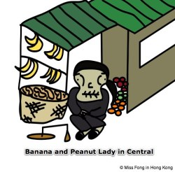 The oldest working woman in Hong Kong (?) selling bananas and peanuts… (full story here).