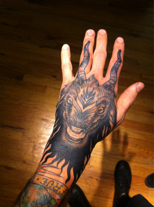Hand #Tattoo by Zac Scheinbaum at Saved Tattoo - Brooklyn, NY.