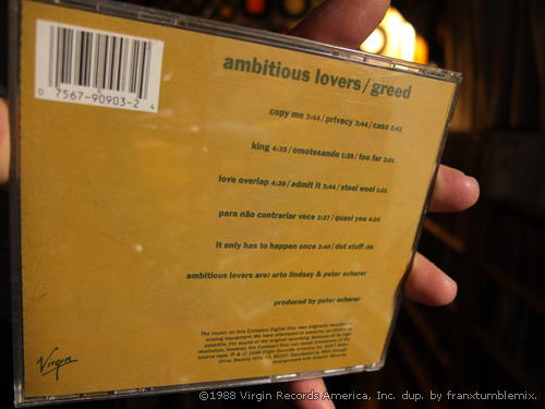 GREED / AMBITIOUS LOVERS Arto Lindsay, Peter Scherer ©1988 Virgin Records America, Inc.