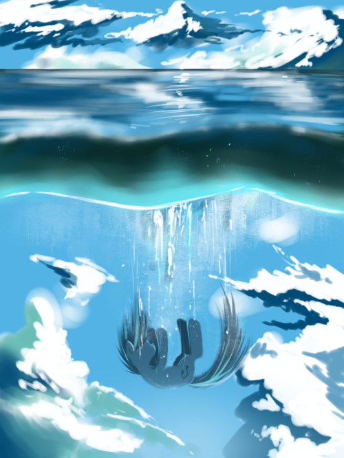 swaetshrit:  Sky Below Sea speedpaint just getting some art out of my system.  This would be fucking epic if it where wallpaper sized.