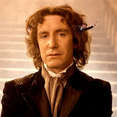 David Tennant, what are you doing in Paul McGann's hair? Though I must say, it does add a certain something… davidtennantinplacesheshouldntbe:  David Tennant in the Eighth Doctor's Hair. Because Eight could almost compete with River for biggest Who hair. Almost.