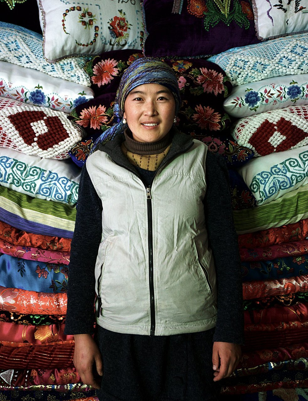23 year old Kazakh woman with wedding gifts. Near Balicun, East Turkestan (Xinjiang, China) December 1 2011