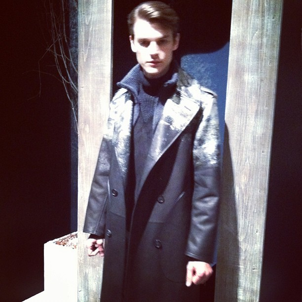 Silver foiled leather coats at Bally
