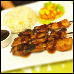 Pork Barbecue in Skewers at Lemongrass  + super tender meat + tasty! - garlic rice is just so so