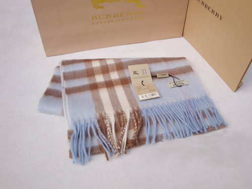 Burberry Cashmere Scarf Light Blue