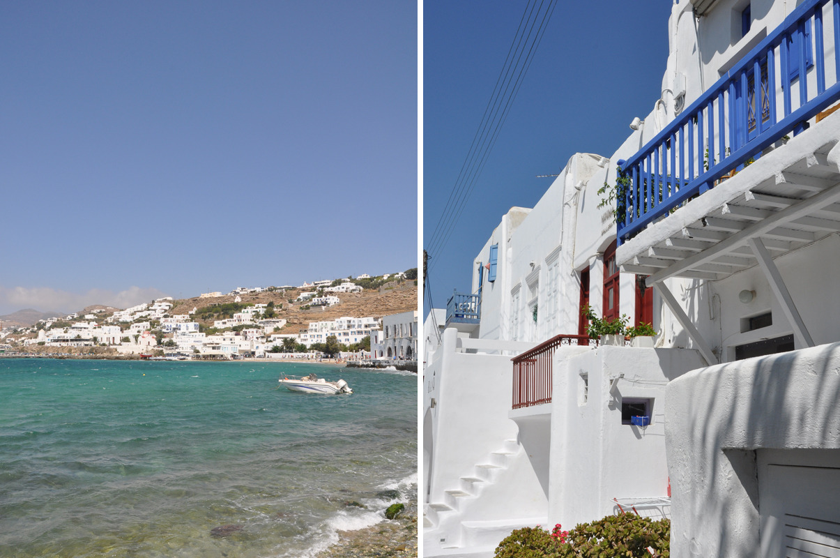 Mykonos, Greece- photographed Summer of 2009.  Yes, it really does look like that (incredibly bright and dreamy.)