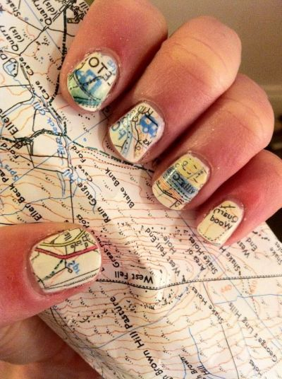 nailcrazyyouknowit:  map nail art  submission - perfectisdead.tumblr.com   Awesome.
