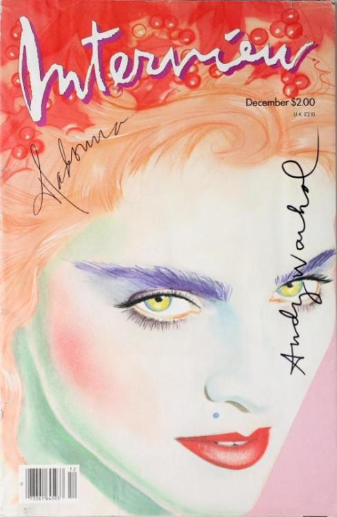 "madonnarchive:  MADONNA & ANDY WARHOL SIGNED ""INTERVIEW"" MAGAZINE   ""Interview"" magazine from December 1985 signed on cover by Madonna and Andy Warhol. Madonna was interviewed by actor Harry Dean Stanton. It was the year Madonna married Sean Penn"
