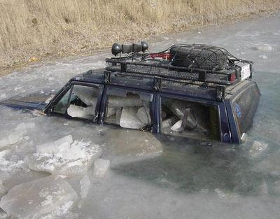 "eastcoastjeeps:  Stuck in an ice river.  one of those.. ""oh shit"" moments."