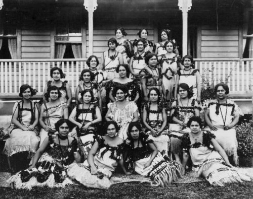 women members of the Socialite Club, Apia, Western Samoa. photographed by Alfred John Tattersal,1920s
