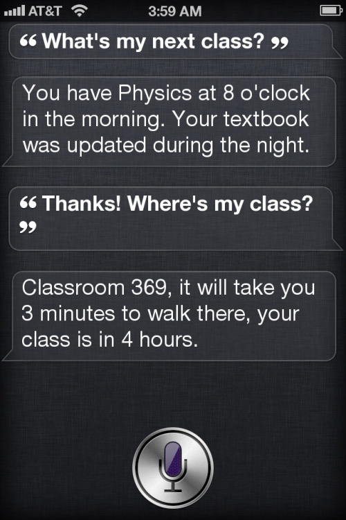 esaruoho:  Siri and Education. Guesswork on 19th January 2012 Apple Education presentation.  How.cool.is.this?