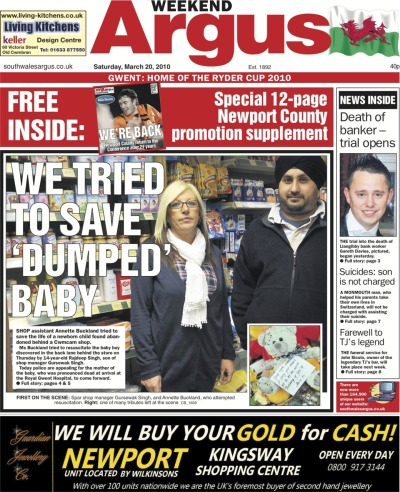 In March 2010, the body of a newborn baby was abandoned outside a corner shop in Cwmcarn. I covered the story from the first police calls we had about the tragic discovery, and throughout the following days as the shock reverberated around the small Valleys community. I also found the heartbreaking story of the shop workers who tried to save the baby boy. Read about the police appeal to the mother here, the shop workers' efforts here, and the effect it had on people in the village here.