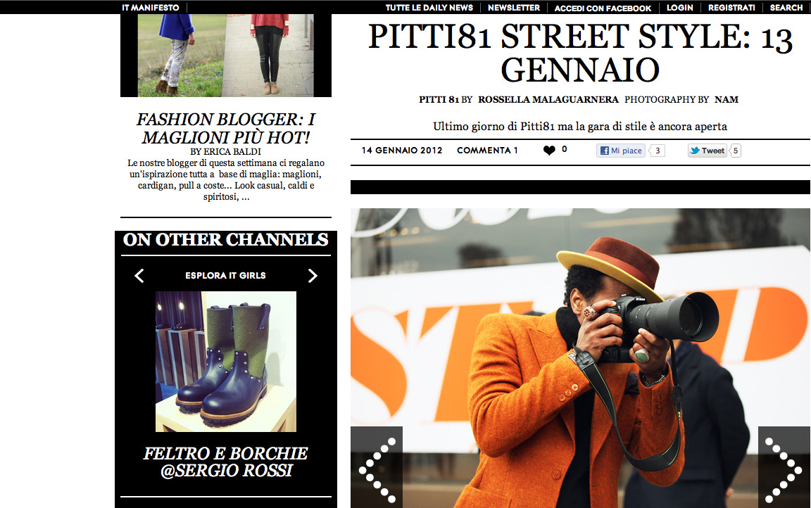 Guerre on the grind in Florence, Italy   Photo courtesy of Grazia.it