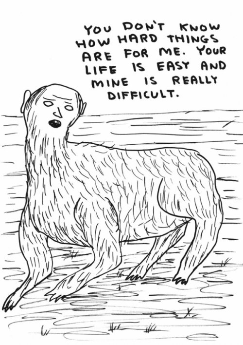 David Shrigley. White whine sphinx/centaur/thing?