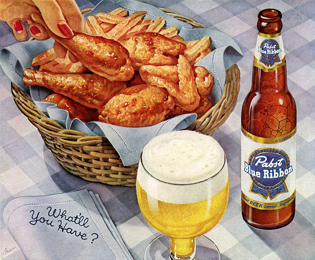 dignified-dame:  Pabst Blue Ribbona advertisement, 1958