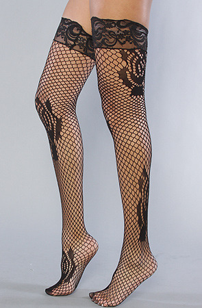 Ooh la la!  Betsey Johnson stockings at Karmaloop http://www.karmaloop.com/product/The-Pose-in-Rose-Net-Thigh-High-Sock/194741