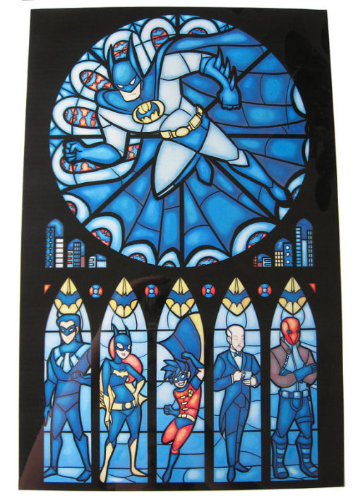 Batman themed stained glass windows