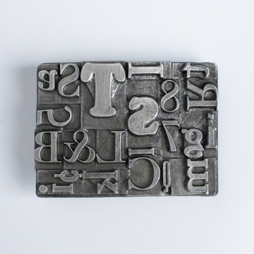Multifont Belt Buckle Pewter by Steel Toe Studios A typographic belt made with recycled steel  via Fab.com