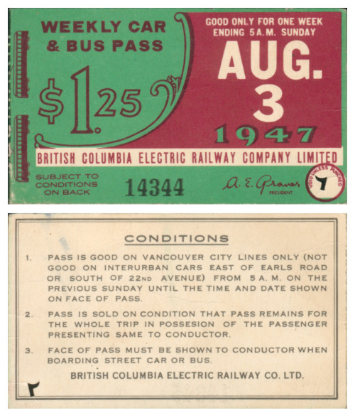 A weekly transit pass from BC Transit, 1947. It would be fun to see a wider range of transit passes through the years to see the progression and design continuity of the pass.