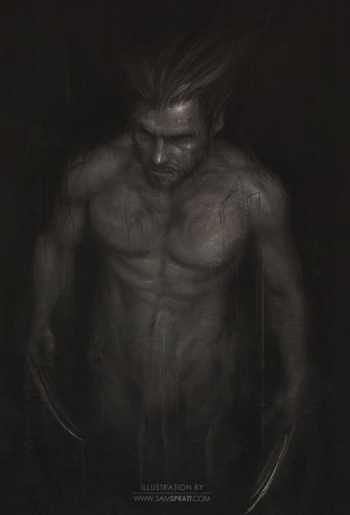 samspratt:  Wolverine- practice painting by Sam Spratt I often get flack for rarely painting the male form. I admit, I'm biased towards the fairer sex, but… I hear you, so one of my goals of 2012 is to even that out a bit. Here's my warm-up. Follow my: portfolio website,  tumblr,  facebook artist's page and twitter.