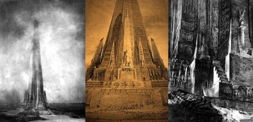 3 renditions of Despradelle's Beacon of Progress monument, which was proposed for construction on the site of the Columbian Exposition of 1893. Chicago wanted something to rival the Eiffel Tower of Paris. The scale of the monument would have made it the tallest structure in the world (even taller than the Sears Tower, which would not be built for another 70 years). Ultimately, lack of funding was the demise of it's creation.