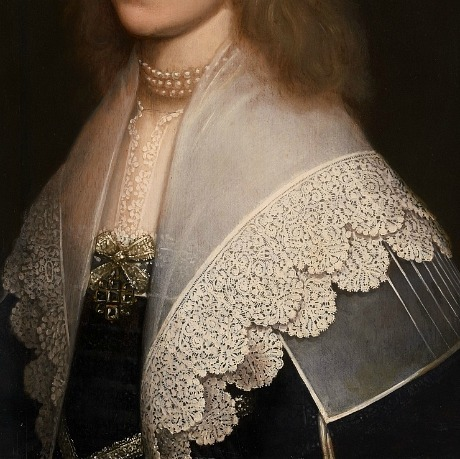 whitehotel:  by Gerrit van Honthorst Portrait of a lady, detail (1638)