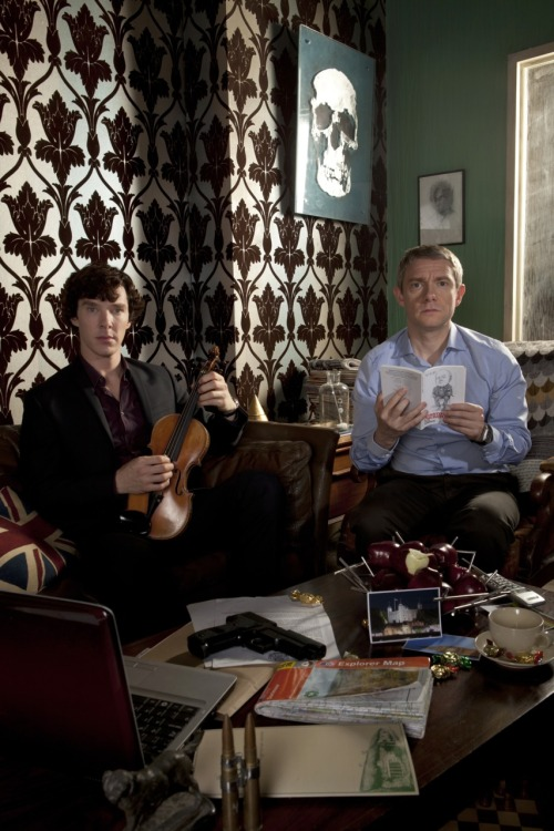 BBC © 2012 Sherlock (Benedict Cumberbatch) and Watson (Martin Freeman) at their world-famous Baker Street home, in our final exclusive image from series two! Don't miss the series finale, tonight at 9pm on BBC One.