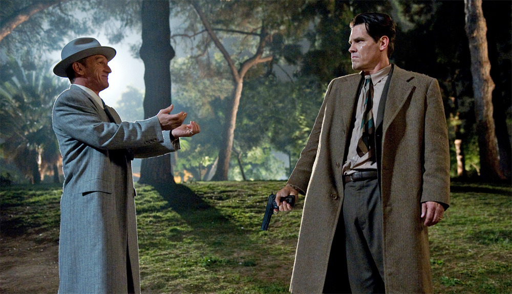 Sean Penn as Mickey Cohen and Josh Brolin as John O'Mara in Ruben Fleischer's Gangster Squad. This looks so frickin' awesome, can't wait to see it!