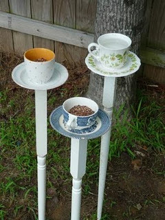 unconsumption:  Today's tutorial: Turn old tea cups and saucers into bird feeders. For the how-to / details — using caulk to attach cups and saucers to staircase posts (spindles) — visit the Something Wonderful blog. (Spotted on Pinterest here.)