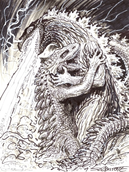 (via Godzilla VS. Gorgo, in David Peeler's sketchs Comic Art Gallery Room)