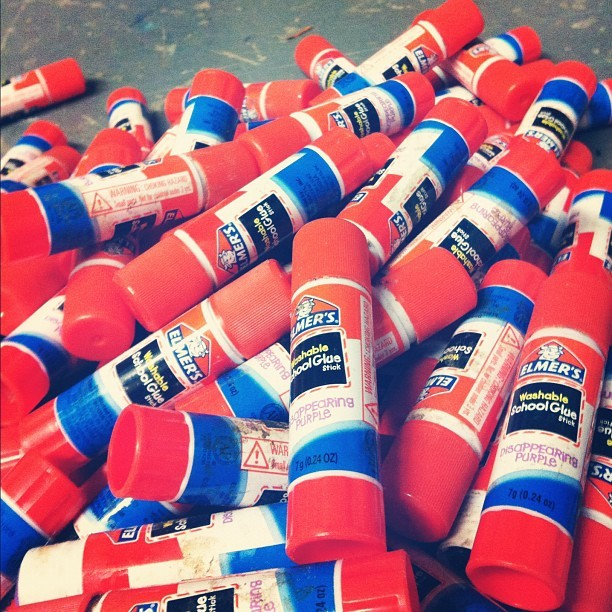 The leftovers from a very busy weekend! mostlymuseum:  Glue stick graveyard (Taken with Instagram at Everett Children's Adventure Gardens @ NYBG)