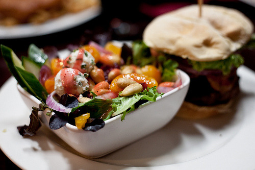 ffoodd:  (via Mozza Burger & Strawberry Chevre Salad | Flickr - Photo Sharing!)