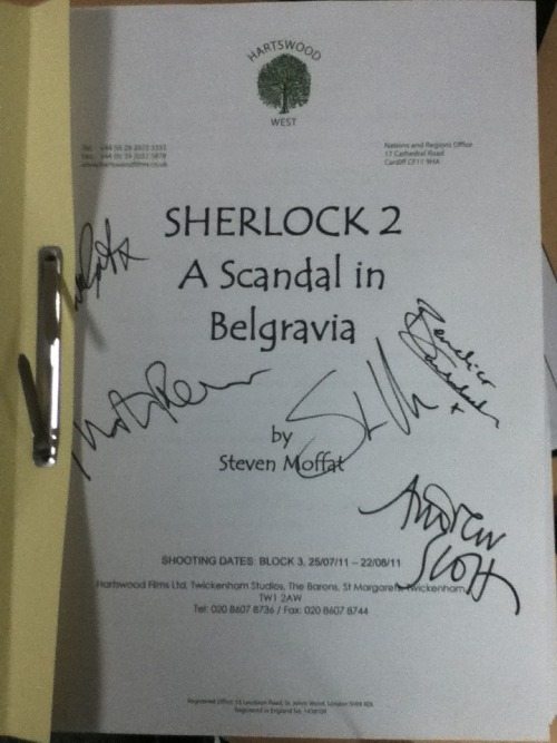 Join us on twitter to find out how you can win this Sherlock script (series 2, episode 1) signed by co-creators and writers Steven Moffat & Mark Gatiss, plus cast members Benedict Cumberbatch (Sherlock), Martin Freeman (Watson) & Andrew Scott (Moriarty).