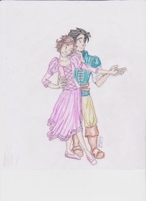 Rapunzel and Flynn :}