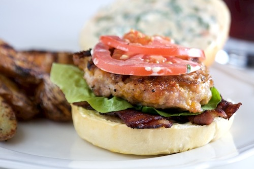 BLT Chicken Burgers with Basil Mayo